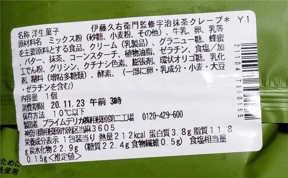 伊藤久右衛門監修の抹茶クレープ成分表